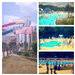 Collage of Different Pools and Slide Tower