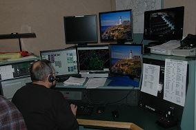 Man Working at Communications Center